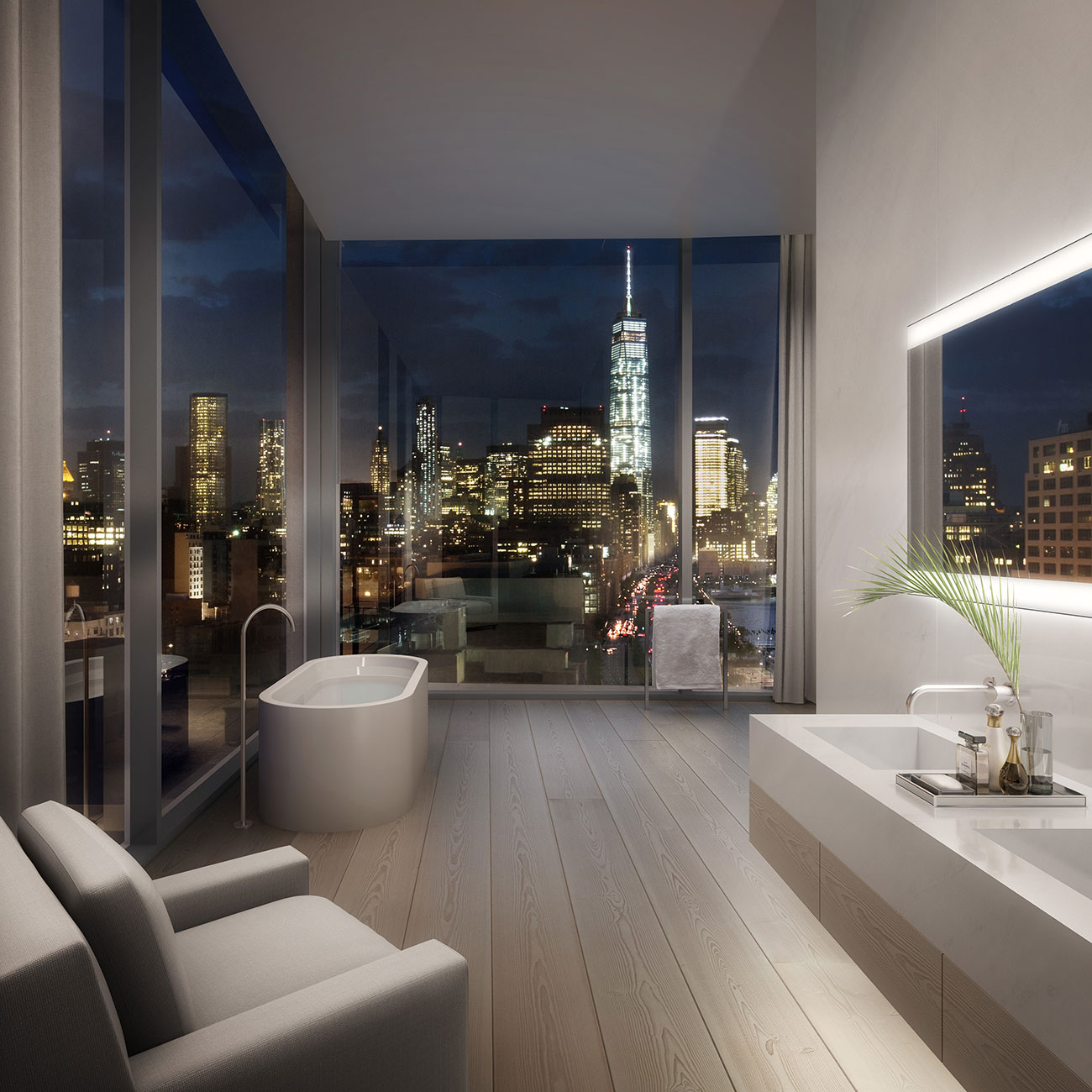 Bathrom At Night With City View.